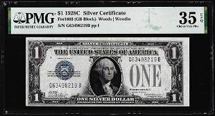 1928C $1 Silver Certificate Note Fr.1603 PMG Choice
