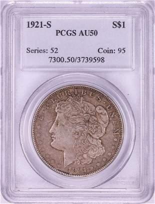 1921 $1 Morgan Silver Dollar Coin PCGS AU50
