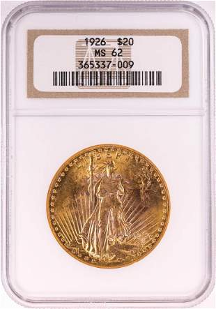 1926 $20 St. Gaudens Double Eagle Gold Coin NGC MS62