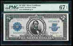 1923 $5 'Porthole' Silver Certificate Note Fr.282 PMG