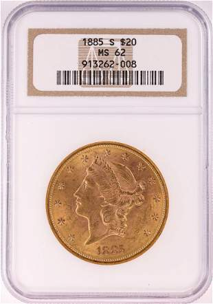 1885-S $20 Liberty Head Double Eagle Gold Coin NGC MS62