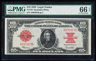 1923 $10 Poker Chip Legal Tender Note Fr.123 PMG Gem