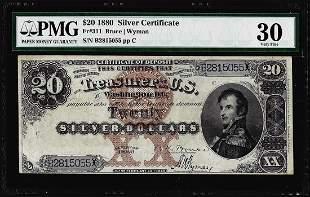 1880 $20 Silver Certificate Note Fr.311 PMG Very Fine