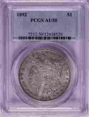 1892 $1 Morgan Silver Dollar Coin PCGS AU50