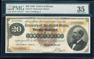 1882 $20 Gold Certificate Note Fr.1177 PMG Choice Very
