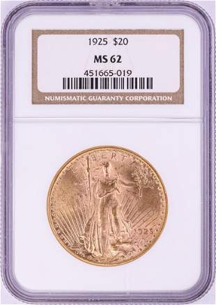 1925 $20 St. Gaudens Double Eagle Gold Coin NGC MS62