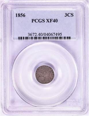 1856 Three Cent Silver Piece Coin PCGS XF40