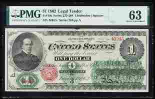 1862 $1 Legal Tender Note Fr.16c PMG Choice