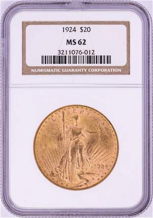 1924 $20 St. Gaudens Double Eagle Gold Coin NGC MS62