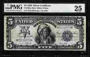 1899 $5 Indian Chief Silver Certificate Note Fr.280m