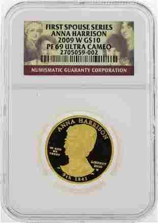 2009 W $10 First Spouse Series Anna Harrison Gold Coin