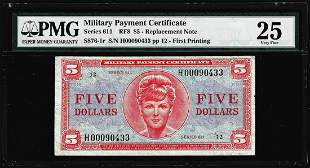Series 611 $5 Replacement Military Payment Certificate