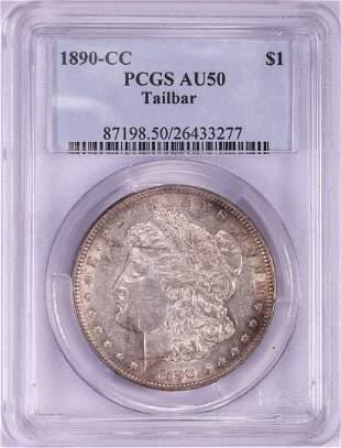1890-CC $1 Morgan Silver Dollar Coin Tailbar PCGS AU50