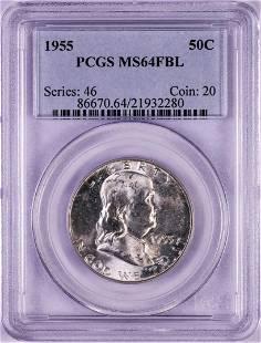 1955 Franklin Half Dollar Coin PCGS MS64FBL