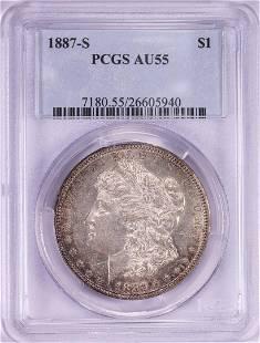 1887-S $1 Morgan Silver Dollar Coin PCGS AU55
