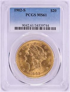 1902-S $20 Liberty Head Double Eagle Gold Coin PCGS