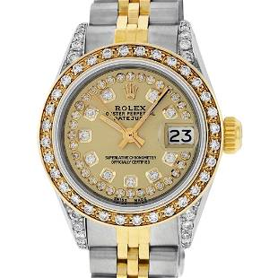 Rolex Ladies Two Tone Champagne Diamond Oyster