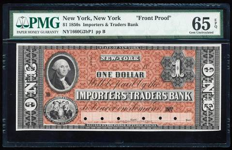 1850's $1 Importers & Traders Bank Front Proof Note PMG