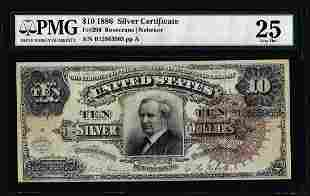 1886 $10 Tombstone Silver Certificate Note Fr.296 PMG