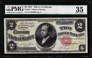 1891 $2 Silver Certificate Note Fr.246 PMG Choice Very