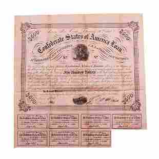 1863 $500 Confederate Bond Obsolete Sheet Printed on