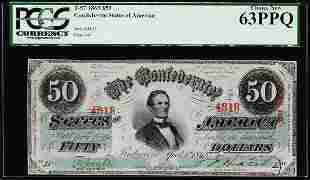 1863 $50 Confederate States of America Note T-57 PCGS