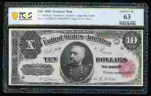 1890 $10 Treasury Note Fr.368 PCGS Choice Uncirculated