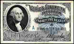 1893 World's Fair Columbian Exposition Ticket
