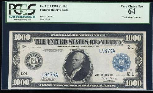1918 $1,000 Federal Reserve Note San Francisco Fr.1133