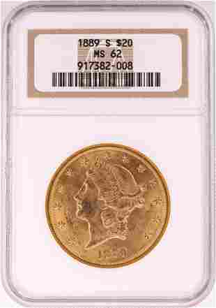 1889-S $20 Liberty Head Double Eagle Gold Coin NGC MS62