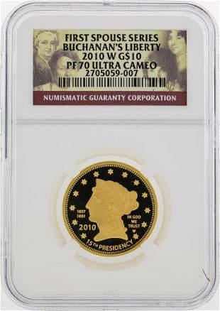 2010 W $10 First Spouse Series Buchanans Liberty Gold