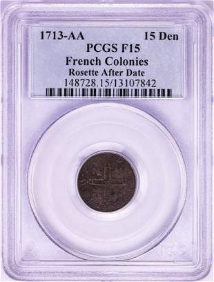 1713-AA French Colonies 15 Deniers Rosette After Date