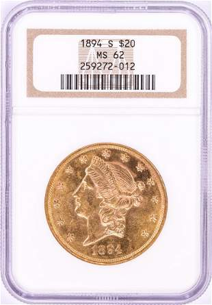 1894-S $20 Liberty Head Double Eagle Gold Coin NGC MS62