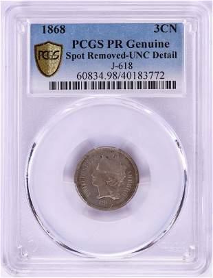1868 Pattern Proof Three Cent Nickel Coin PCGS PR