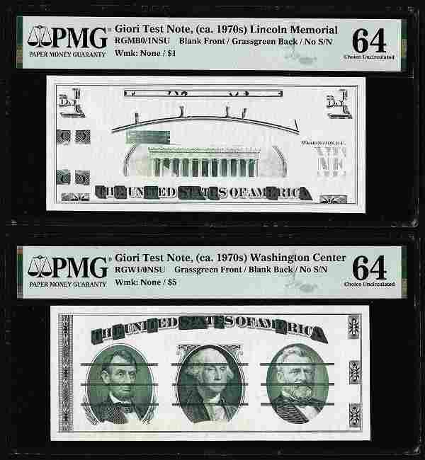 Set of Giori Test Note Washington & Lincoln Memorial
