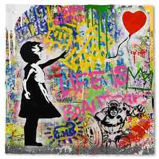 """Mr. Brainwash """"Balloon Girl"""" One-of-a-Kind Hand Signed"""