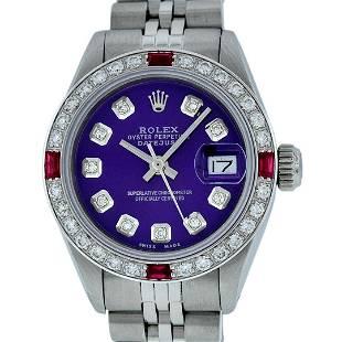 Rolex Ladies Stainless Steel Purple Diamond & Ruby