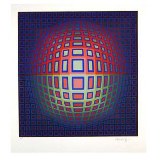 """Vasarely (1908-1997) """"Blue Composition"""" Limited Edition"""
