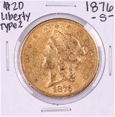 1876-S $20 Liberty Head Double Eagle Gold Coin