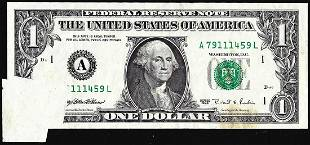 1995 $1 Federal Reserve Butterfly Fold Over Error Note