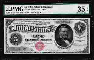 1886 $5 Silver Certificate Note Fr.260 PMG Choice Very