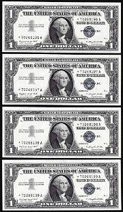 Lot of (4) Consecutive Uncirculated 1957A $1 Silver