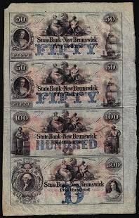 Uncut Sheet of $50/$50/$100/$500 The State Bank at New