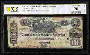 1861 $10 Confederate States of America Note T-29 PF-1