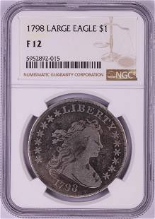 1798 Large Eagle $1 Flowing Hair Silver Dollar Coin NGC