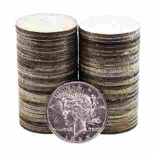 Lot of (50) $1 Peace Silver Dollar Coins