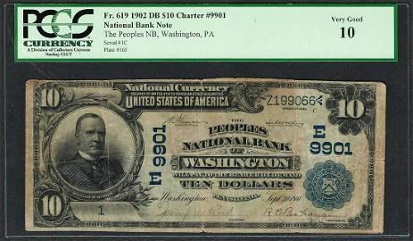 Serial # 1 1902 DB $10 Washington, PA CH# 9901 National