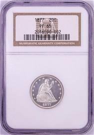 1877 Proof Twenty Cent Piece Coin NGC PF65