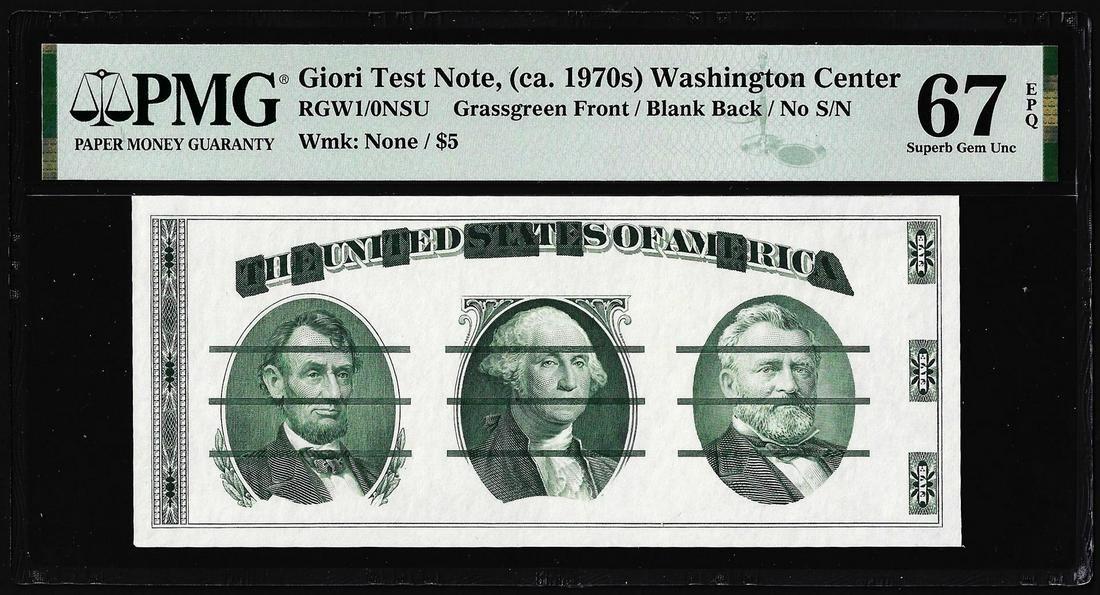 Circa 1970's Washington Center Giori Test Note PMG