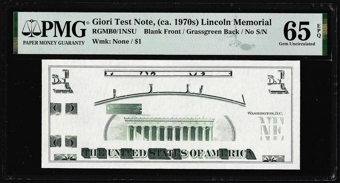 Circa 1970's Lincoln Memorial Giori Test Note PMG Gem